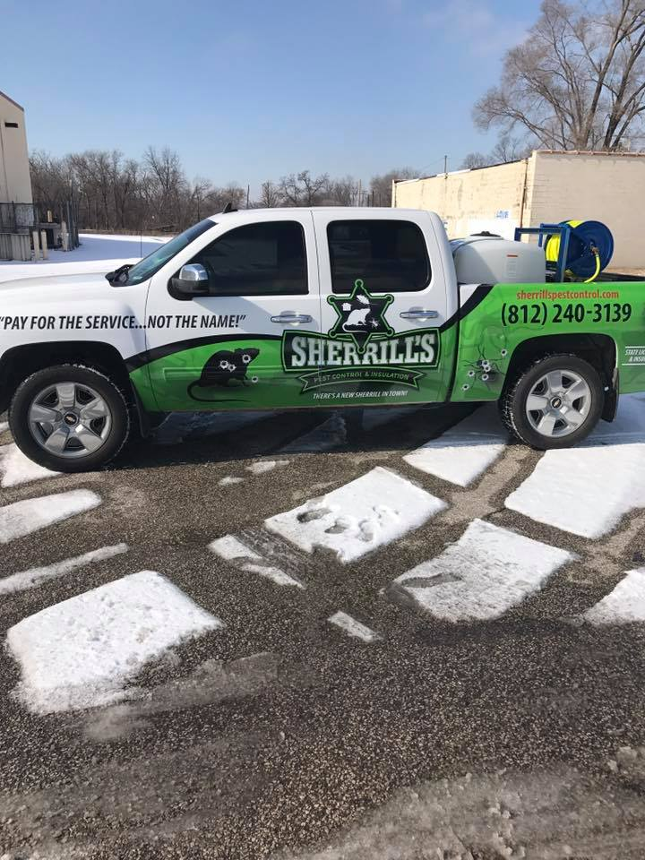 Side view of Sherrill's Pest Control truck