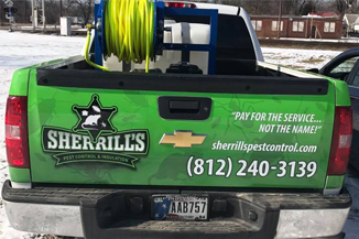 rear view of sherrill's pest control truck